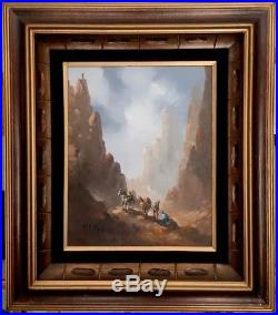 Manuel Munoz Merida Original Western Vintage Painting Signed