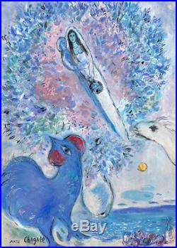 Marc Chagall Original Hand Signed Painting Vintage Artwork Lovers Modernism Rare