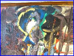 Marek Wojtowicz VINTAGE FIGURAL ABSTRACT EXPRESSIONIST OIL PAINTING Signed