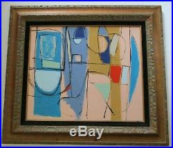 Medium Large Abstract Painting Vintage Modernism Expressionism Cubism Cubist