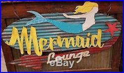 Mermaid Mid-Century Retro Painted Metal Sign FREE SHIPPING