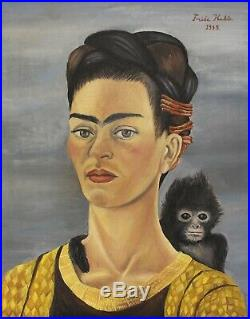 Mexican Frida Kahlo Signed Original Vintage Oil Painting on Canvas, Mexican art