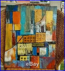 Mid Century Modern Abstract Style Cityscape Painting Vintage Canvas signed