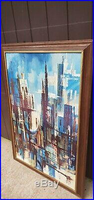 Mid Century Modern Cityscape Lithograph BY MONTEZ ABSTRACT VINTAGE PAINTING