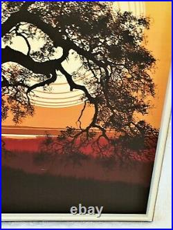Mid Century Modern Letterman Framed Canvas Tree with Sunset