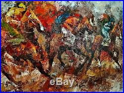 Mid Century Modern original oil painting vintage abstract horse race signed