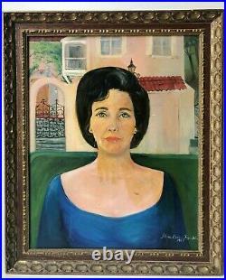 Mid-Century Original Female Portrait Painting Canvas SIGNED'65 Vintage Painting
