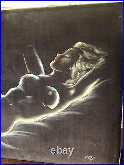 Mid Century Vintage Black Velvet Painting Reclining Nude Woman Unframed 22x28