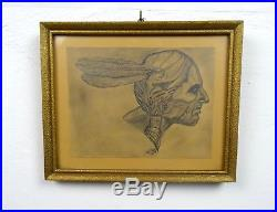 Mid Century vintage stunning native indian drawing painting signed 1955 Fine Art