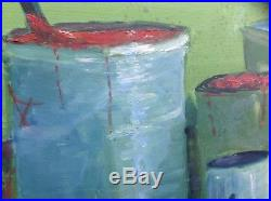 Mid century Vintage Still Life Abstract Painting Dated 1970 Signed