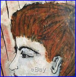Modernist Portrait Painting of Redhead Woman, Artist Signed 1955 Vintage MCM