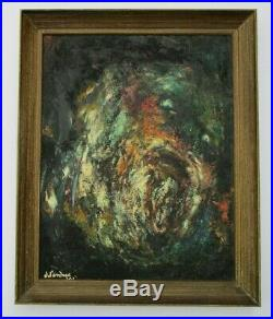 Mystery Artist Painting Vintage Abstract Figural 1960 Modernism Expressionism