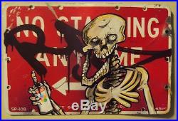 Nyc Graffiti Street Sign Vintage Brown Krylon Spray Paint Skeleton Art Rd357