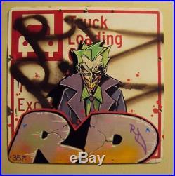 Nyc Graffiti Street Sign Vintage Brown Krylon Spray Paint The Joker Art Rd357