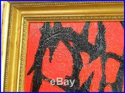 NY ABSTRACT EXPRESSIONIST OIL PAINTING VINTAGE MID CENTURY MODERN Signed 1967