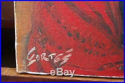 Nice Vintage 1930s-50's Portrait of a woman by Cortes oil on canvas signed