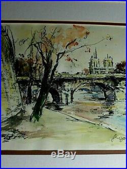 Notre Dame Paris France River Seine Cityscape RARE VINTAGE ORIGINAL Gregoire WithC