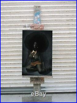 Nude, Black Afro Woman 70's vintage style Original Oil painting Velvet R43x