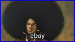 Nude, Black Afro Woman 70's vintage style Original Oil painting Velvet R64h