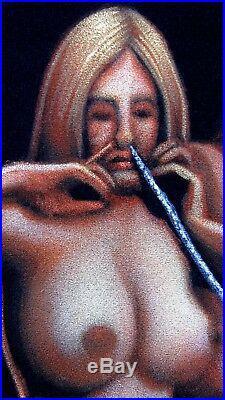 Nude, Cocaine space Oil paint on Velvet 70's vintage style of David Mann R42x