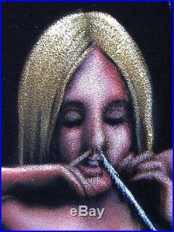 Nude, Cocaine space Oil paint on Velvet 70's vintage style of David Mann R52x