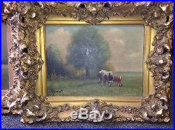 OIL CANVAS Artist Signed K. Durant Painting Gilded Framed Cows Pair Farm Antique