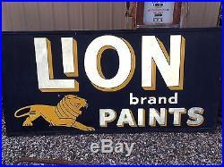 ORIGINAL 1963 Vintage LION PAINTS Sign HUGE 8' X 4' UniQuE Reflective Self frame