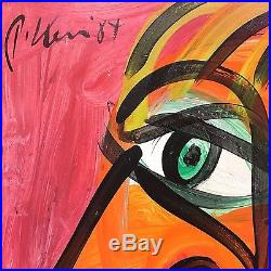 ORIGINAL SIGNED PETER KEIL VINTAGE PAINTING 1984 Red Face 24x24