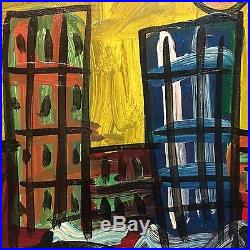 ORIGINAL SIGNED PETER KEIL VINTAGE PAINTING 1984 Twin towers Manhattan 24x24