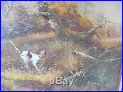 Original Signed Vintage Dog Hunting Quail Landscape Oil Painting