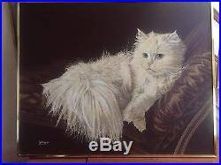 ORIGINAL VINTAGE THE RESTING CAT OIL PAINTING SIGNED BY LETTERMAN 48 x 60