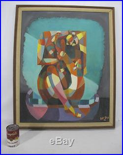 ORIGINAL Vintage Bart Young SIGNED Cubism Contortionist Oil/Board Painting yqz