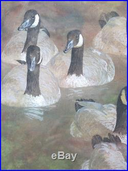 ORIGINAL Vintage Robert Stack SIGNED Goose Convoy Watercolor Painting NR yqz