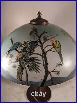 Obverse Painted Carolina Parrots Signed Lamp Shade Handel Era style