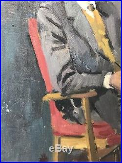 Oil On Canvas Mid Century Portrait Jessica Gregory Vintage Antique Northern Art