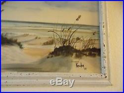 Oil Painting California Seascape 16 x 20 white frame signed Kouba 1972 vintage