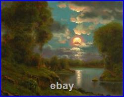 Oil Painting Landscape Signed Western Vintage Impressionist Moon Cloud MAX COLE
