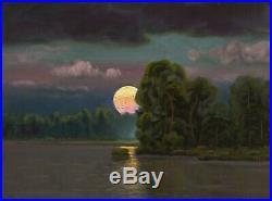 Oil Painting Landscape Western Art Antique Vintage Pink Cloud Moon 121 MAX COLE