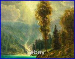 Oil Painting Landscape Western Art Antique Vintage Pink Cloud Oregon 19 MAX COLE