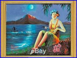 Oil Painting MOONLIGHT PARADISE Pietro Ramirez Mid Century Modern Hula Girl Tiki