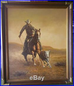 Oil Painting Vintage Artist Signed Western American Cowboy Cow Horse Landscape