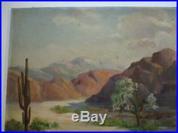 Old Desert Painting By Mary Schofield American Landscape Blooming Vintage 1960