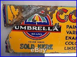 Old Gourepore Umbrella Brand Paint Varnish Color Vintage Enamel Porcelain Sign