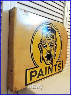 Old Paint Sign Unusual 1930s Vintage White Horn Weird Art Deco 2 Sided Flange