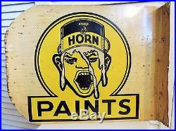 Old Unusual 1930s Vintage Paint Sign White Horn Weird Art Deco 2 Sided Flange