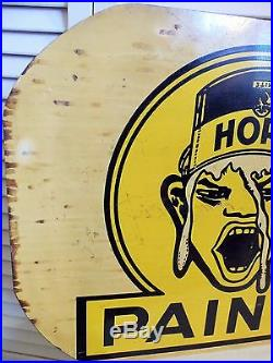 Old Unusual 1930s Vintage Paint Sign White Horn Weird Business 2 Sided Flange