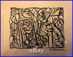 Old Vintage Drawing Painting Signed Lee Krasner American Artist