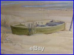 Old Vintage Oil Painting Florida Beach Coastal Landscape Seagull Dunes Ocean Art