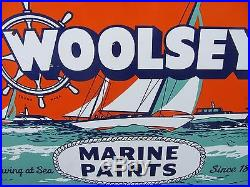 Old Vintage Porcelain Woolsey Marine Paints Co Advertising Enamel Sign Gas & Oil