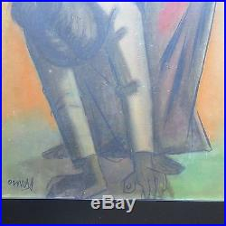 Oramas Signed Vintage Modernism Mother Child Maternal Figure Painting